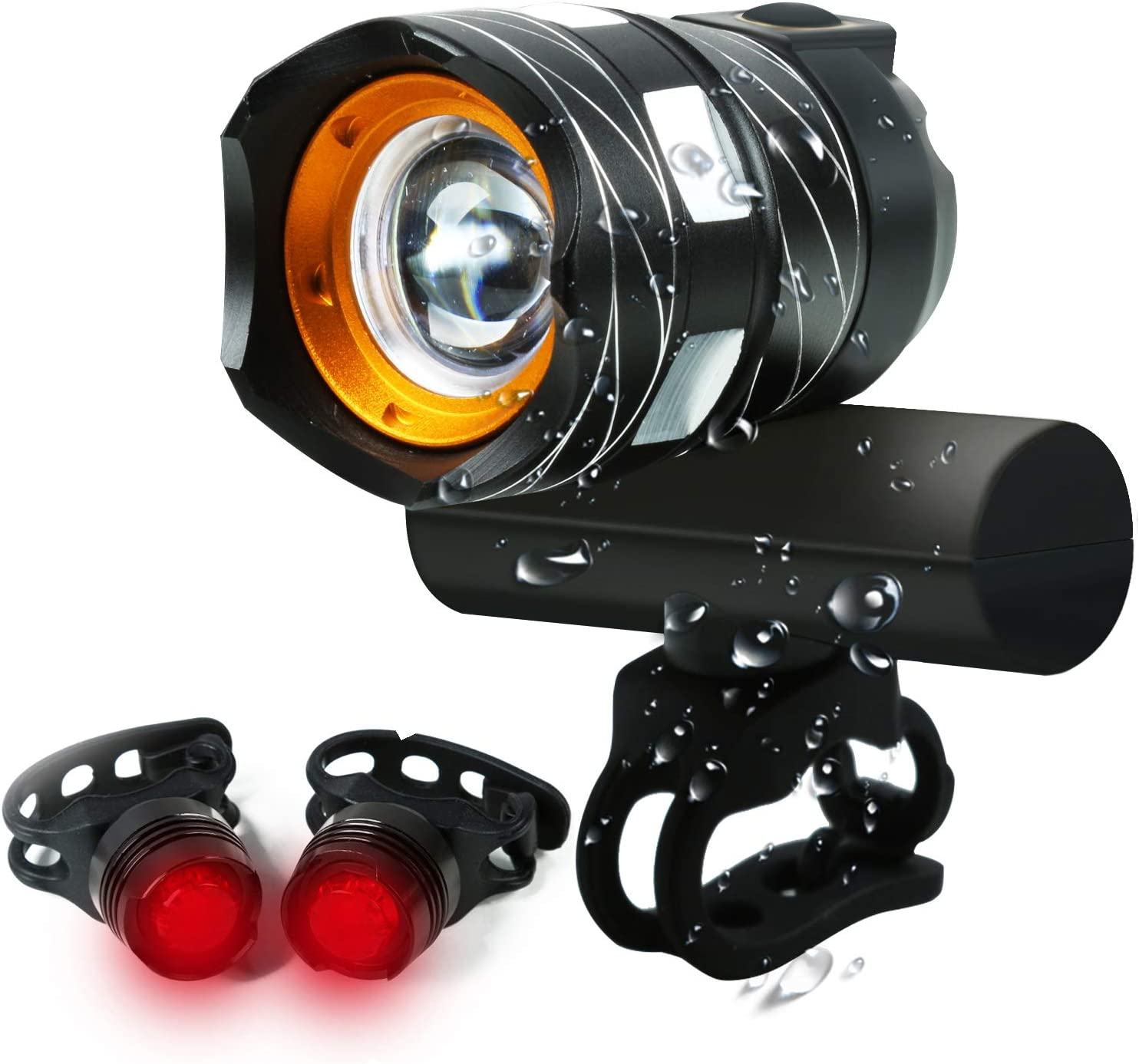 XPG LED Bike Front Light Lamp Rechargeable Bicycle Headlight 400ft Visibility