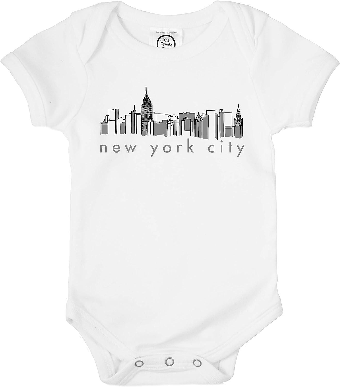 The Spunky Stork Unisex Baby NYC New York City Skyline Organic Newborn Bodysuit