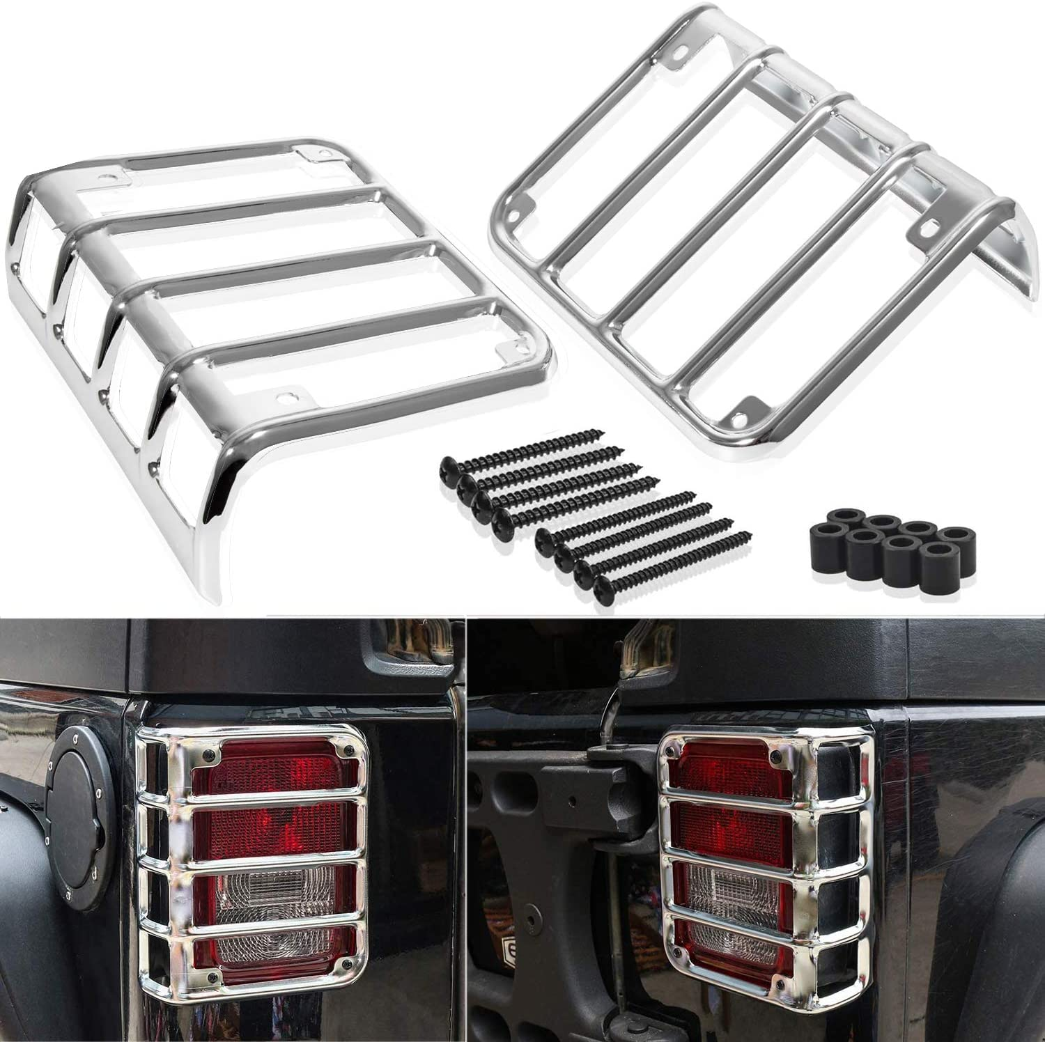 Yoursme Tail Light Guards Rear Taillight Protector Covers Accessories Red Fit for Jeep Wrangler JK 2007-2018