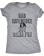 Womens Bad Influence But Damn Fun Tshirt Funny Halloween Devil Tee