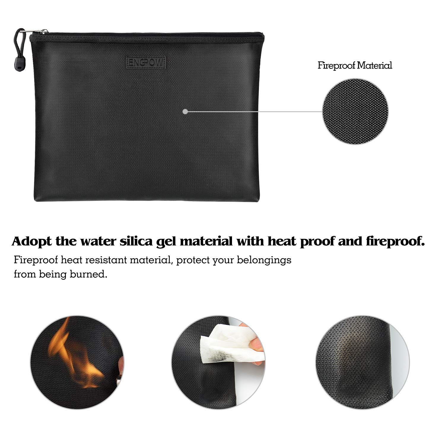 ENGPOW Fireproof Money Bag/Silicone Coated Fire Water Resistant for Document, Securit Bank Deposit with Utility Zipper Coin Bag,11.5X7.9 inches Check Wallet,Black by ENGPOW (Image #1)