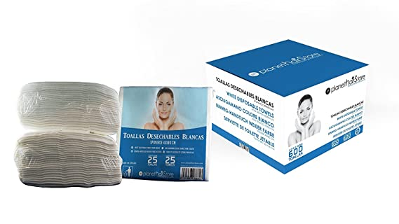 Toallas Desechables PlanetHair Store® 40x80 Blancas 600 unidades, Spunlace 55 gramos envasadas en paquetes de 25 unidades. Ideal para gimnasios, hospitales, ...