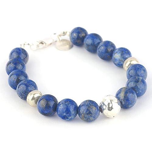 Bracelete argent 925 sterling avec lapis lazuli