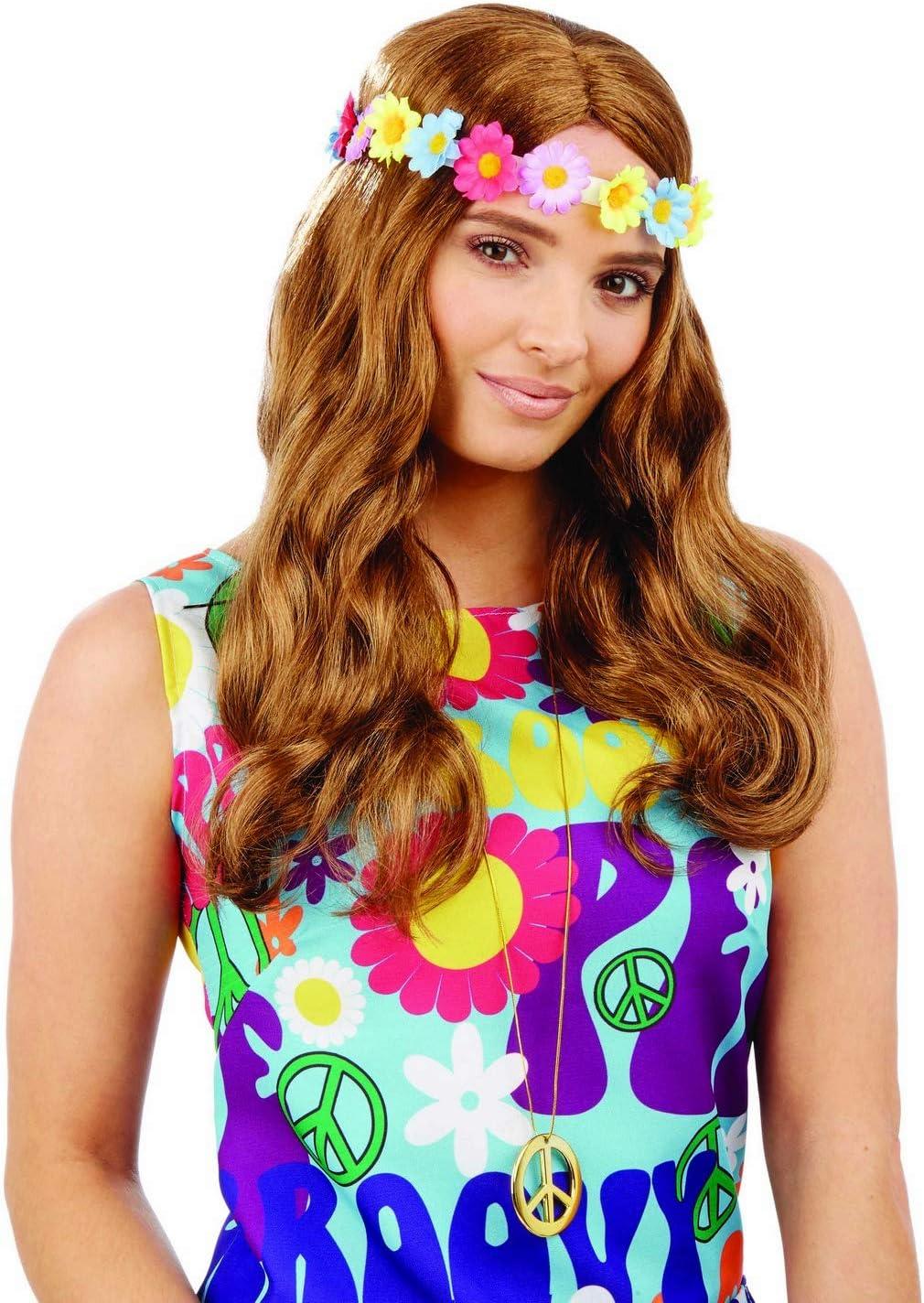 Fun Shack Marrón Hippie Floral Peluca para Mujeres - Un Tamaño