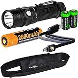 Fenix RC11 USB rechargeable 1000 Lumen CREE XM-L2 U2 LED Flashlight EDC with Fenix 18650 Li-ion battery , and 2 X EdisonBright CR123A Lithium back-up Batteries bundle