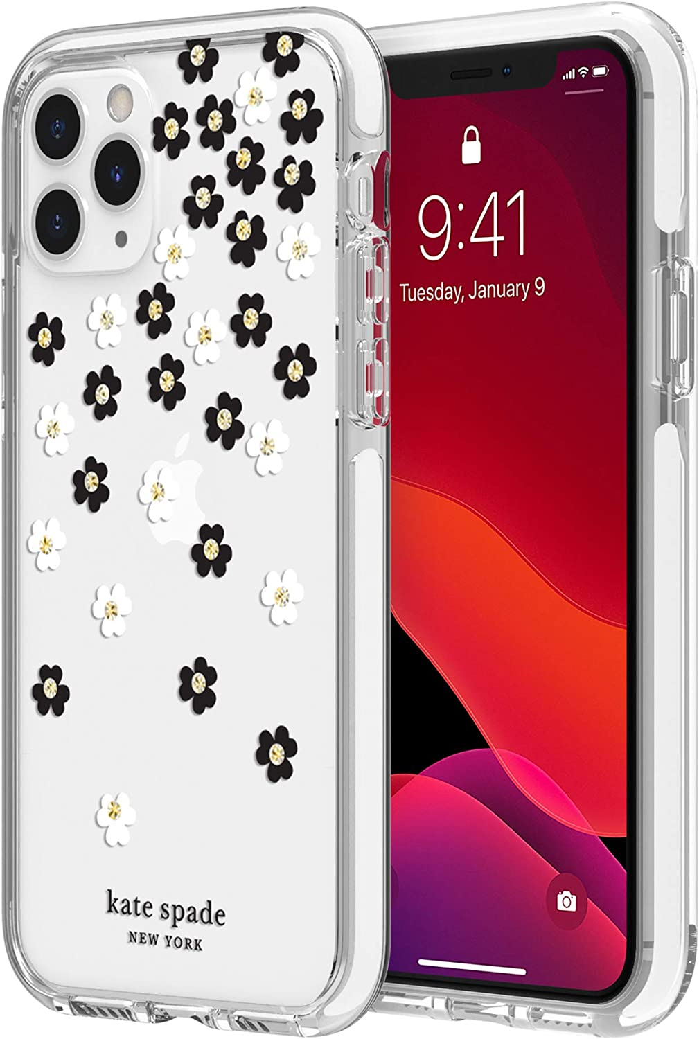 kate spade new york Scattered Flowers Case for iPhone 11 Pro - Defensive Hardshell with White Bumper, Scattered Flowers Gold Gems