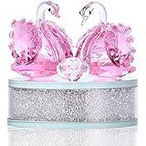 H&D インテリア クリスマスプレゼント 贈り物 白鳥 装飾 ピンク ガラス置物