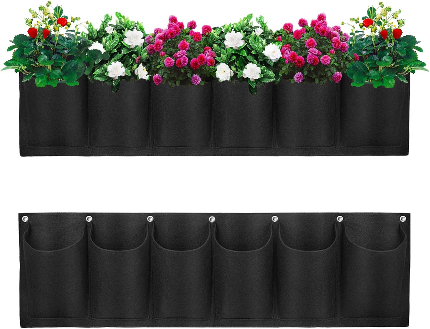 PUISUIT Garden Hanging Planter Grow Bag, Outdoor Wall Mount Fence Planting Pouch with 6 Pocket for Vegetables, Herbs and Flowers, Horizontal, Waterproof Back, Black(2 Pack)