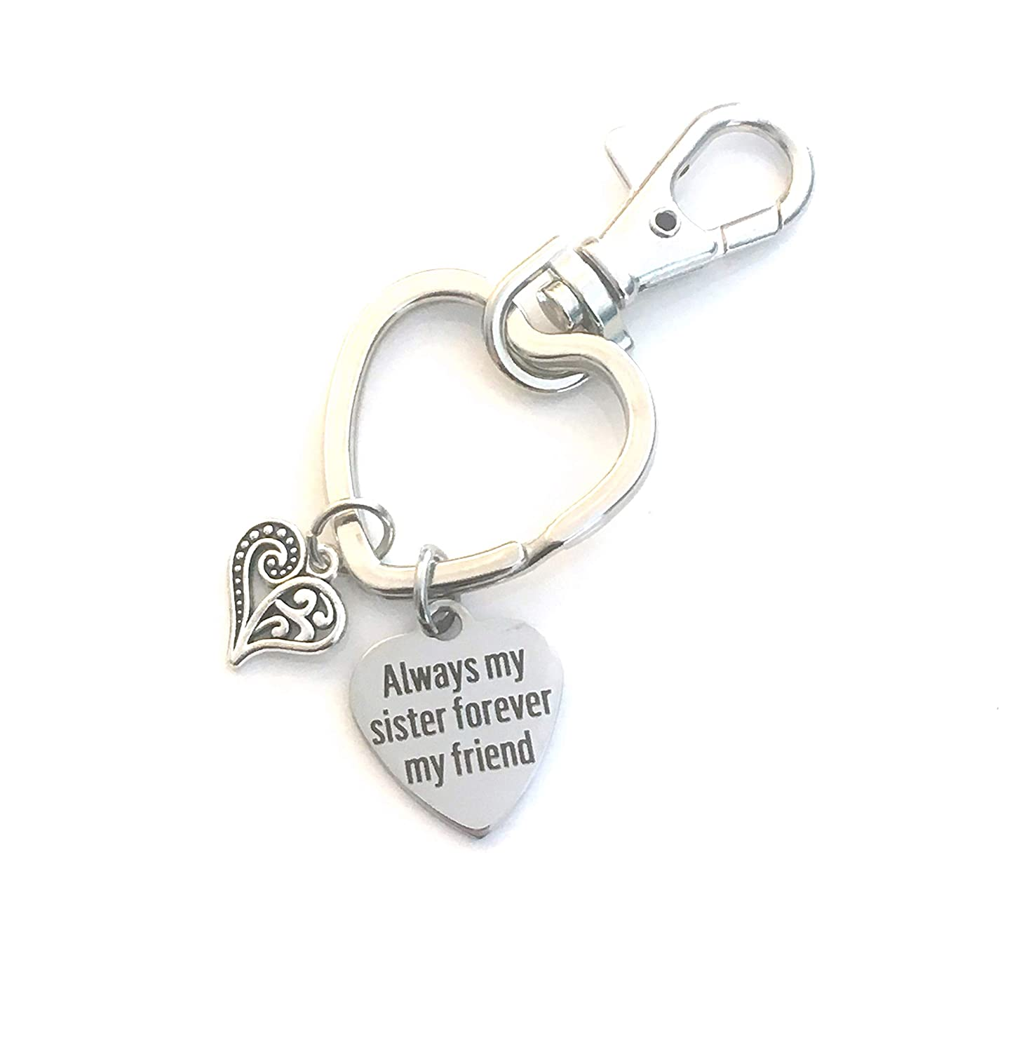 Sister Keychain, Always my sister forever my friend, Gift for Sis Key Chain - Women