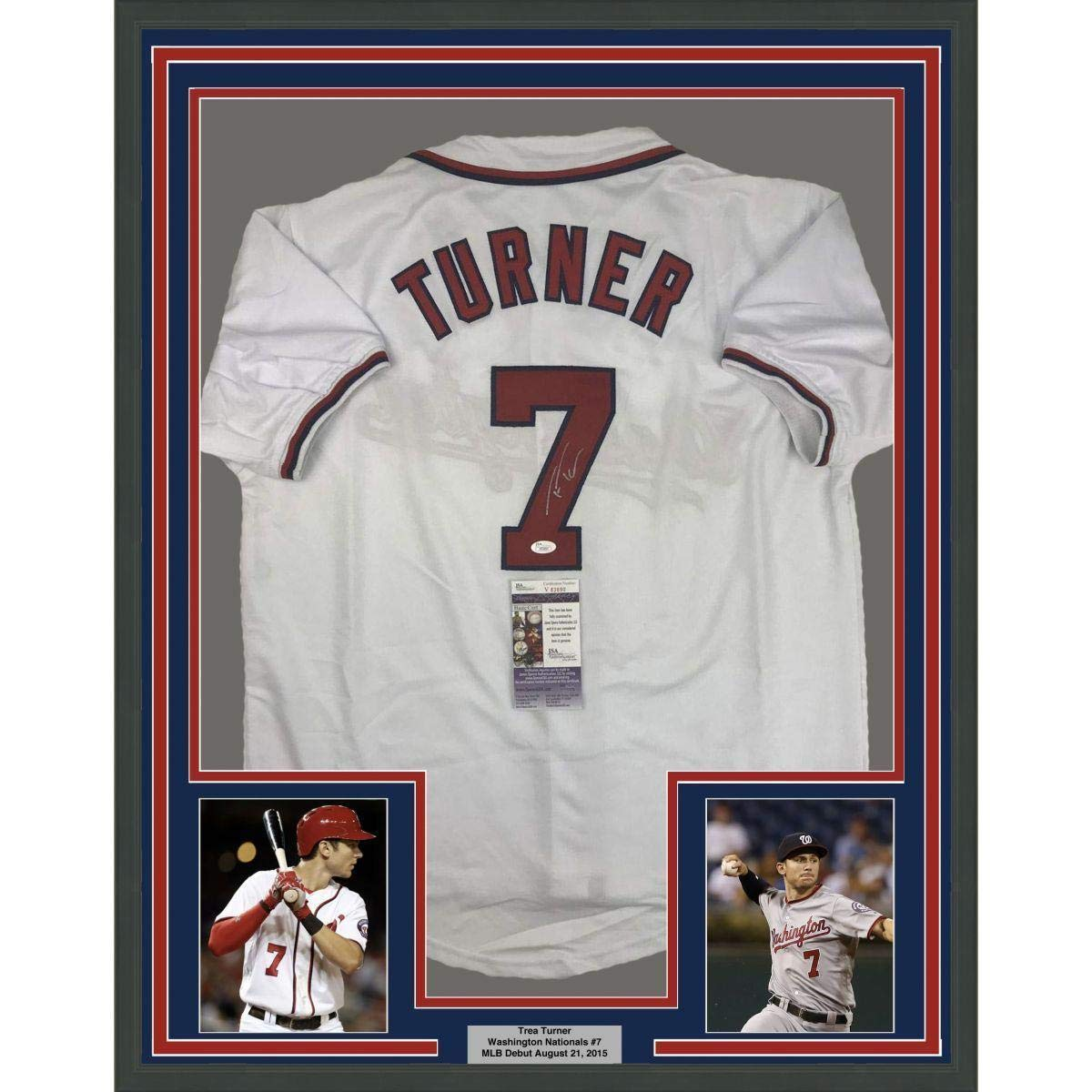 separation shoes 73844 f596e Signed Trea Turner Jersey - FRAMED 33x42 White COA - JSA ...