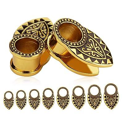 Amazon.com: TBOSEN - Dilatadores de oreja tribales dorados y ...