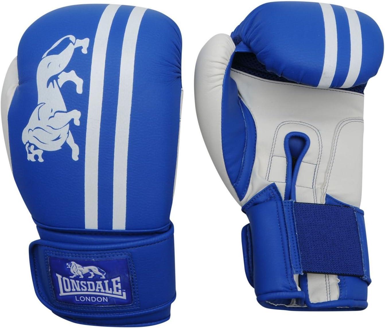 Lonsdale London Club スパーリングボクシンググローブ ジムフィットネスバッグ スパーリンググローブ ブルー/ホワイト 14 oz