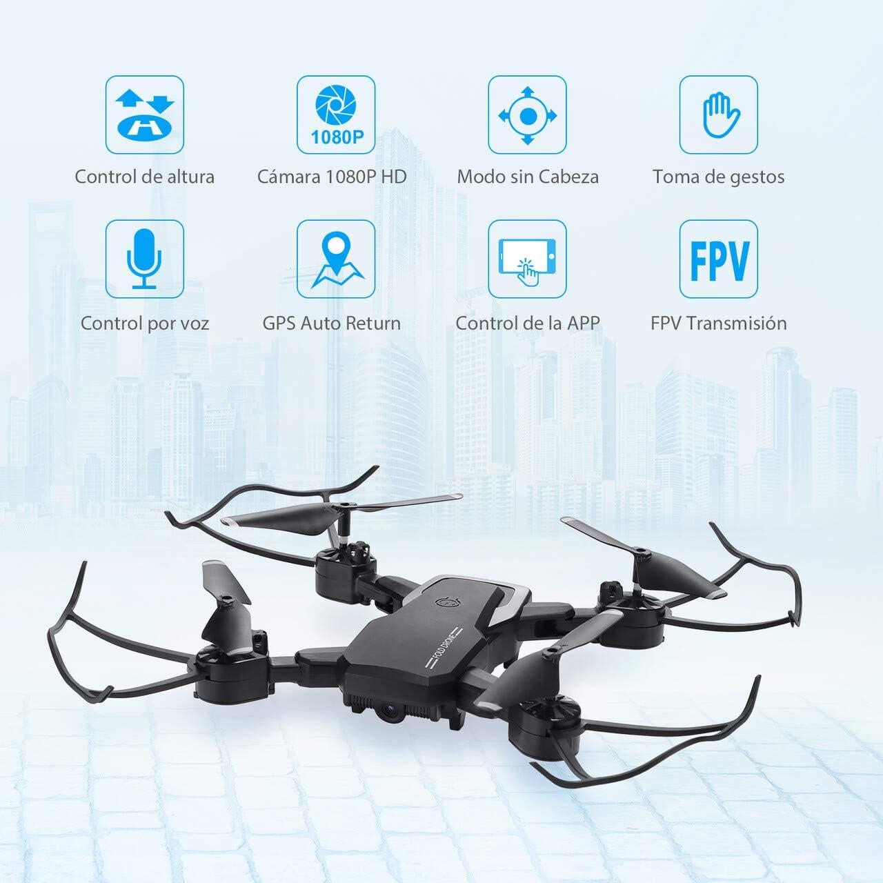 Adecuado para Principiantes y Ni/ños. Drone con C/ámara Modo sin Cabeza Vuelo de Trayectoria 30 Minutos de Tiempo de Vuelo Altitude Hold 2 Bater/ías Mini Drone con 1080P HD WiFi FPV 3D Flip