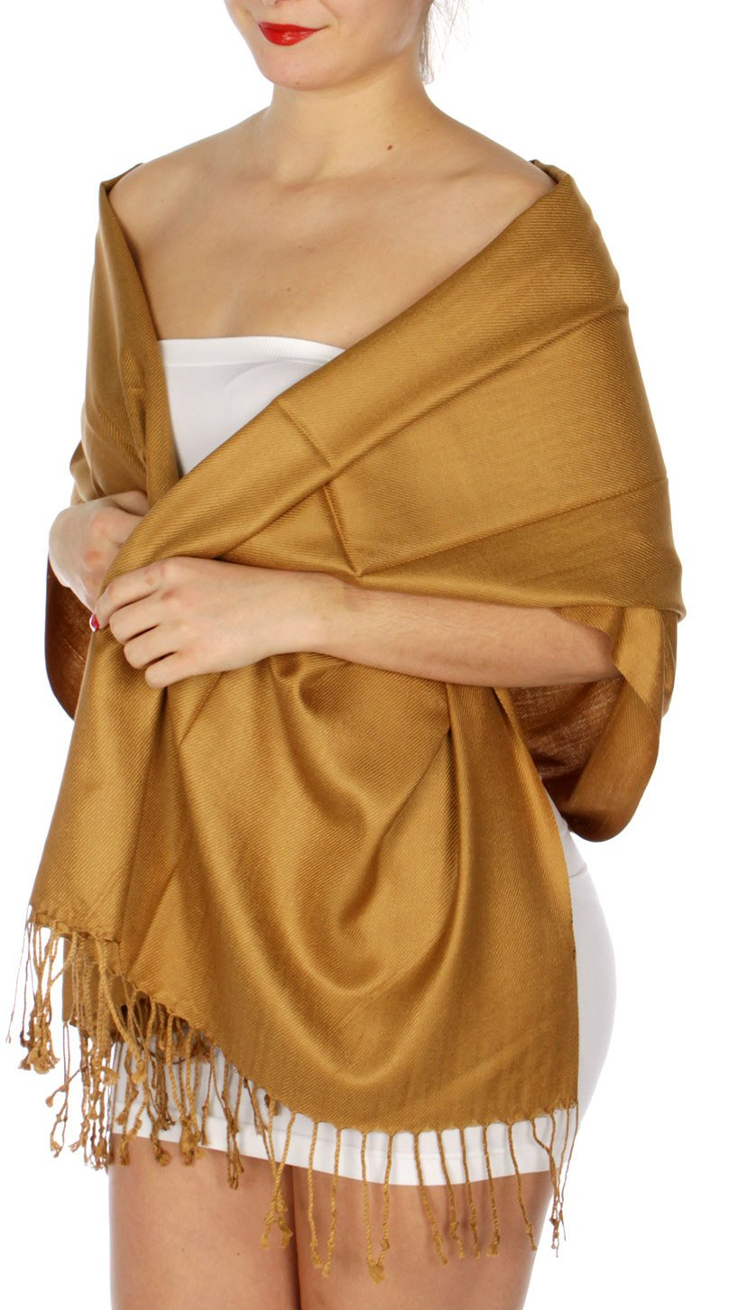 SERENITA Women's Silky Solid Pashmina Style 12 Bronze, One Size