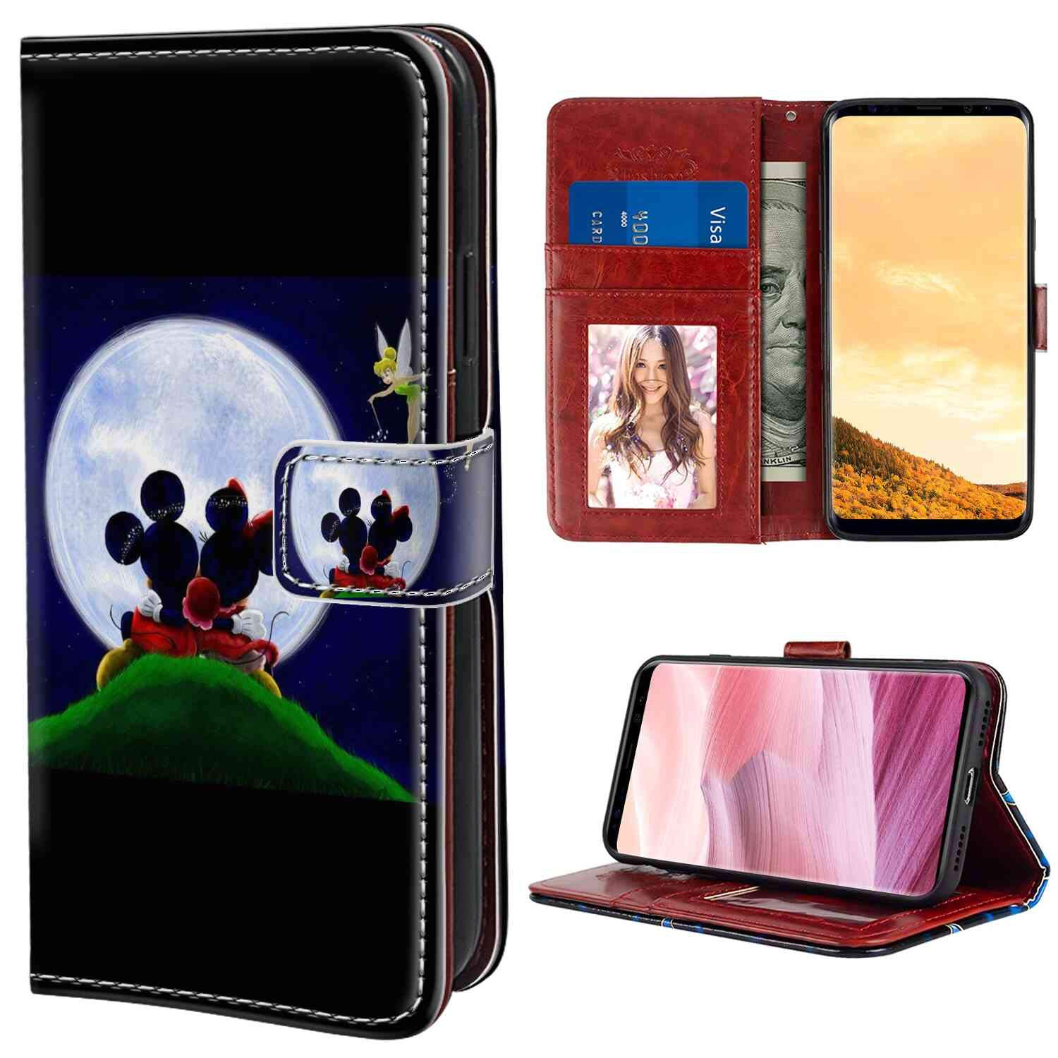 """Samsung Galaxy S8 Plus (6.2"""") Wallet Case Disney Love Mickey Mouse Minnie Tinkerbell"""