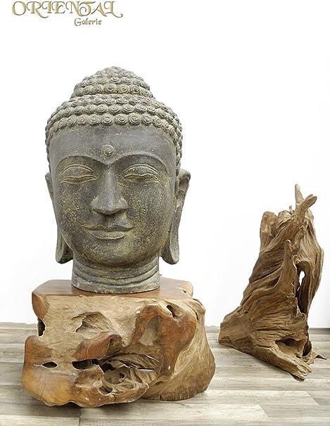 Cabeza de Buda Grande Jardín Piedra Arenisca Escultura Figura decorativa Lava Head Bali 72 cm: Amazon.es: Hogar