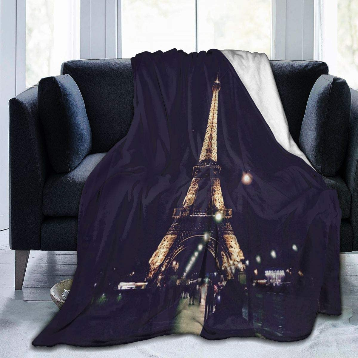 Fleece Plush Throw Blanket Comforter Night France Eiffel Tower Faux Fur Soft Cozy Warm Fluffy Lightweight Microfiber Fuzzy Blanket for Bed Couch Sofa Chair Fall Nap Travel Camp Picnic Clearance 50x60i