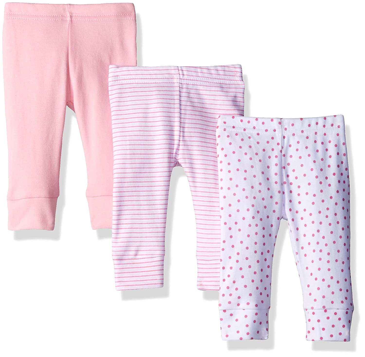 Spasilk Baby Girls' 3 Pack Cotton Stretchy Tapered Pants