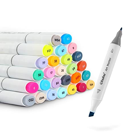 Ohuhu 40 Color Dual Tips Permanent Marker Pens Art Markers For Kids Highlighter Pen