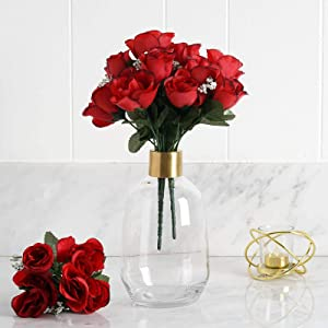 Efavormart 84 Artificial Buds Roses for DIY Wedding Bouquets Centerpieces Arrangements Party Home Decoration Supply - Black and Red