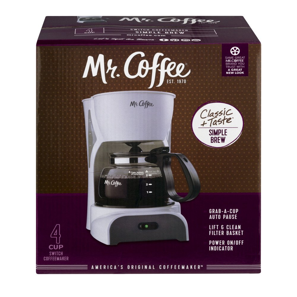 Mr. Coffee Simple Brew 4-Cup Switch Coffee Maker with Removable Filter, White