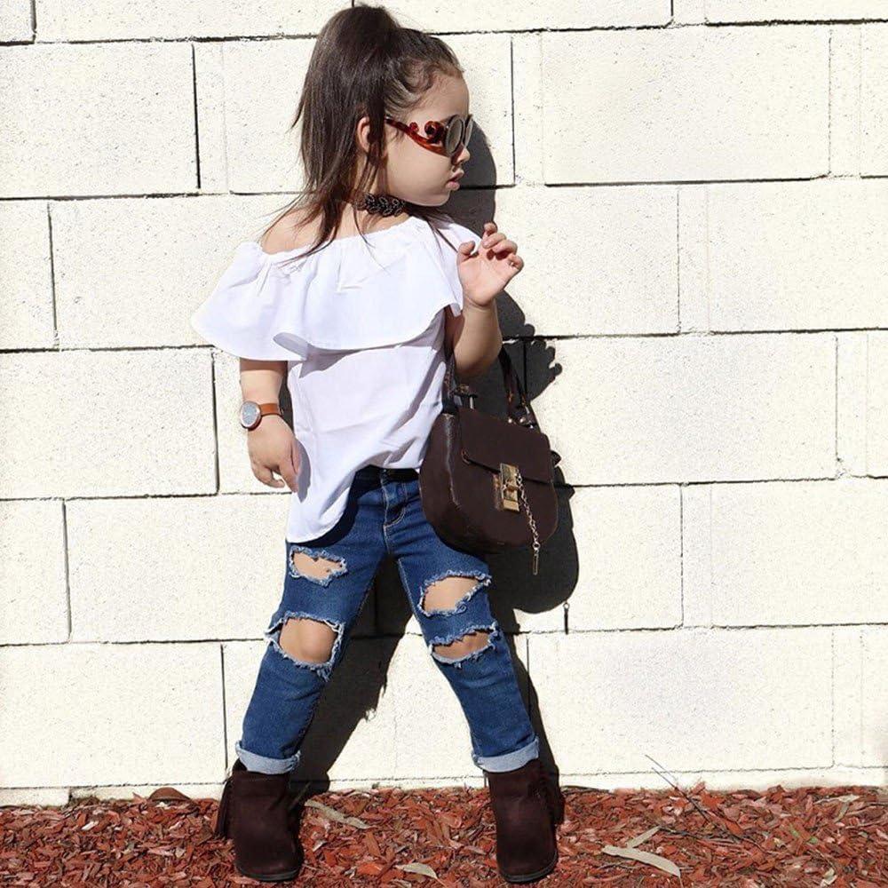 Kobay Kleinkind Kinder Baby M/ädchen Stern T-Shirt Tops Denim Hosen 2 St/ücke Outfits Kleidung Set