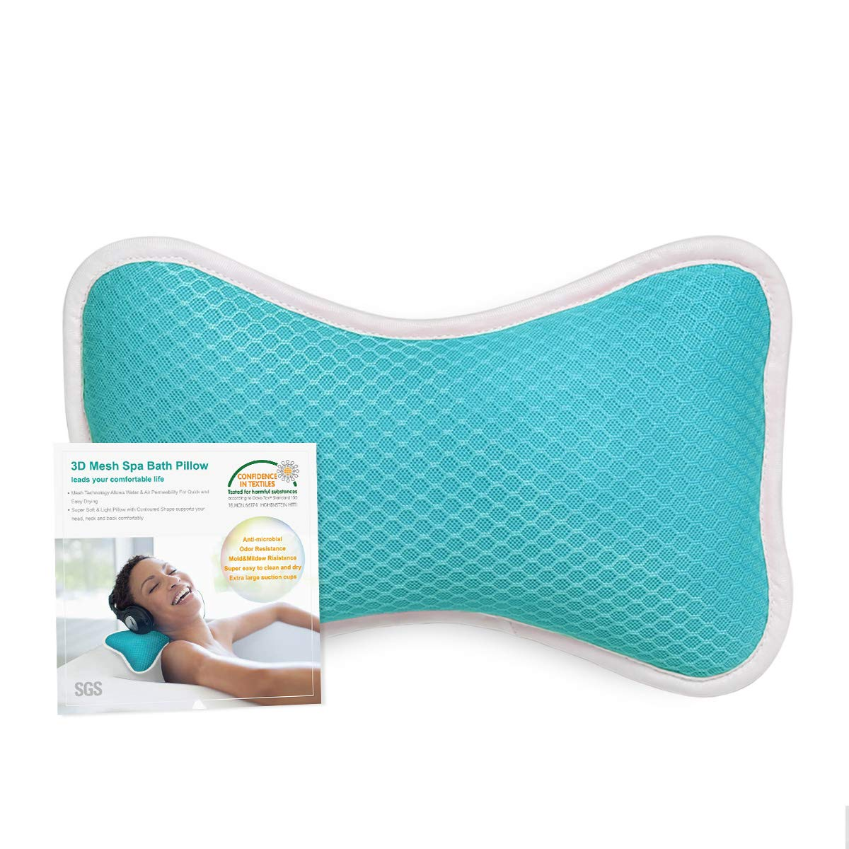 Comfortable Bath Pillow with Suction Cups, Supports Neck and Shoulders Home Spa Pillows for Bathtub, Hot Tub, Jacuzzi, Bathtub Head Rest Pillow Relax & Comfy - Blue : Beauty