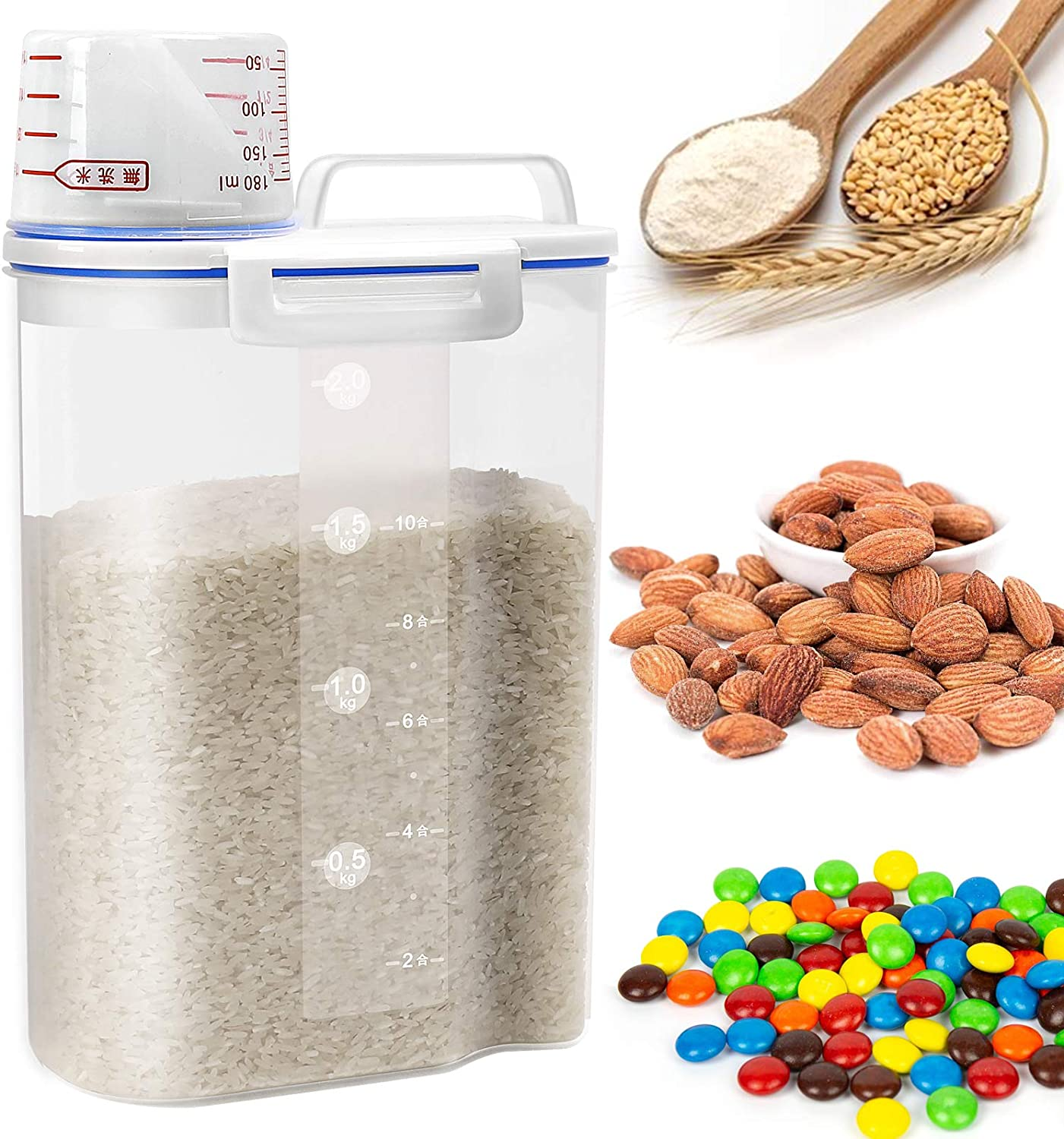 Rice Cereal Container Storage - Airtight Dry Food Rice Container Storage BPA Free Plastic Small Rice Dispenser with Measuring Cup Pour Spout for Rice Cereal Beans Flour Sugar - 4.4LB/2KG