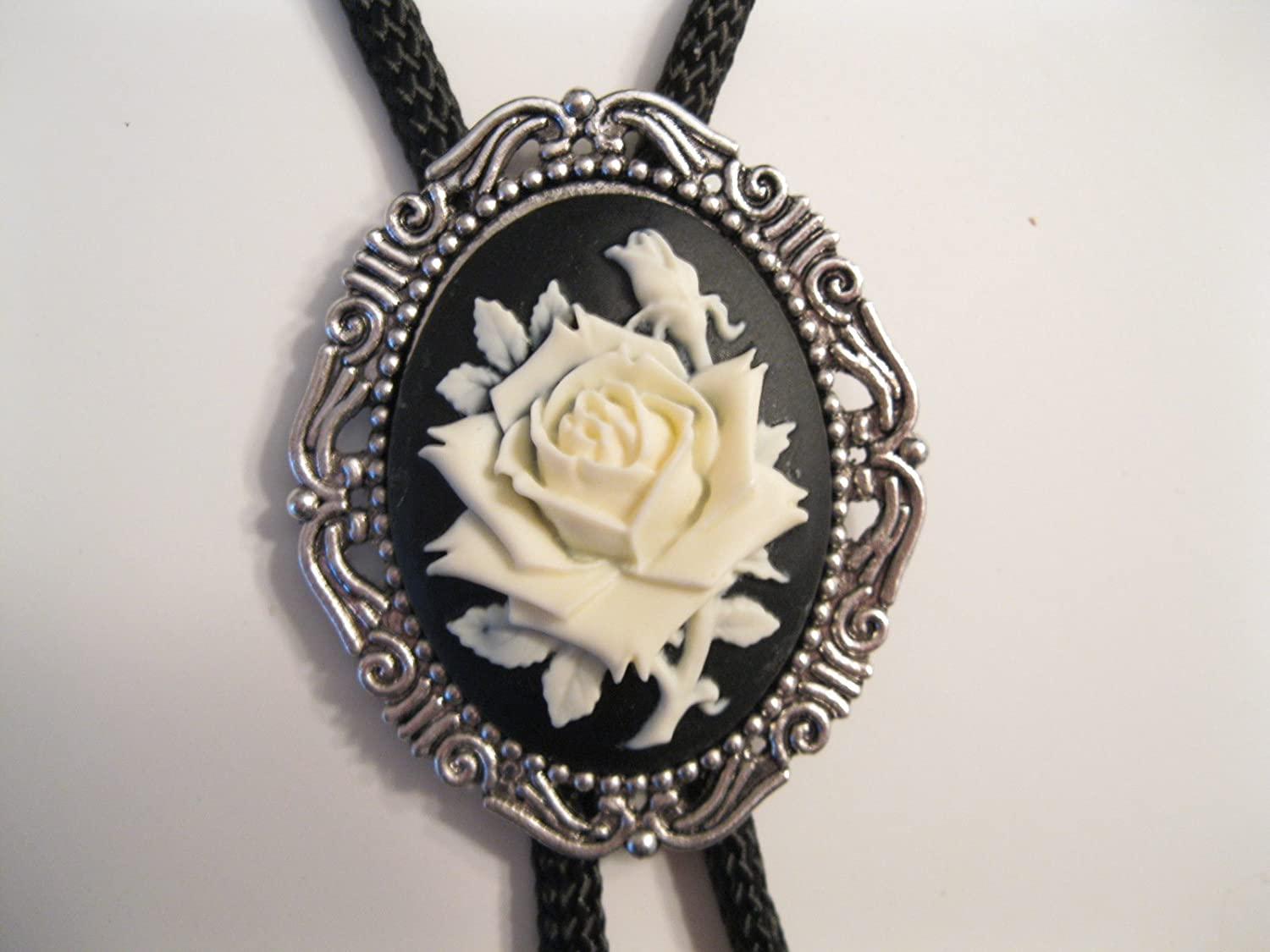 Cream Rose Cameo on Black Background and Silver Frame Western Bolo Tie #280b