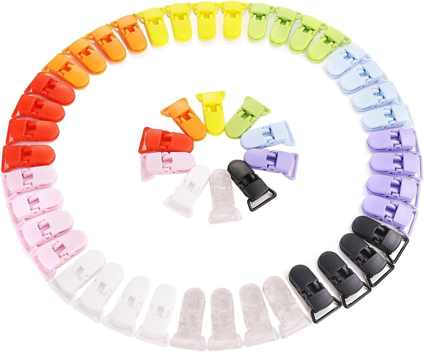 Pince /à sucette bretelle attache clip plastique 10 couleurs 50 pcs by CASCACAVELLE