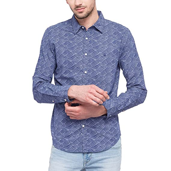 United Colors of Benetton Men s Printed Slim Fit Casual Shirt  (203764786 Assorted S) eb1629a150ba