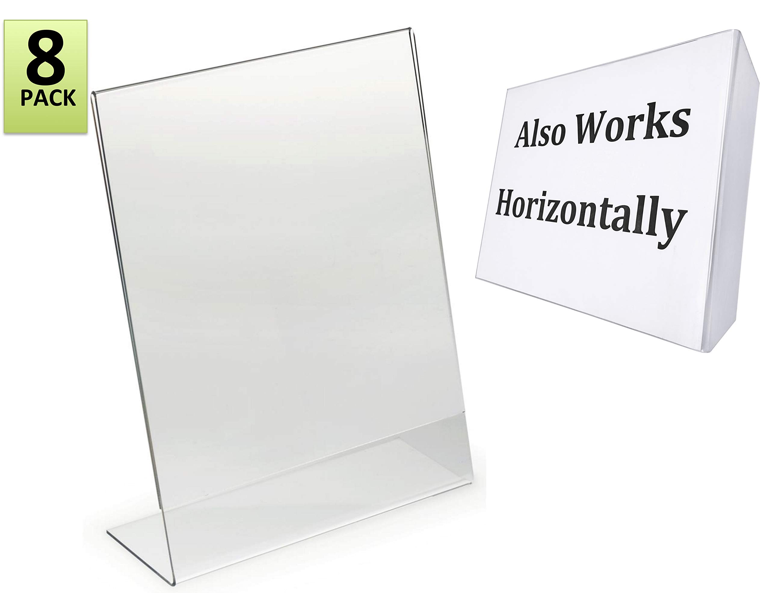 8.5 x 11-Inches Slant Back Acrylic Sign Holder Ad Frame, Clear (8 Pack)