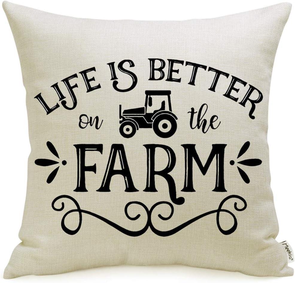Meekio Farmhouse Pillow Covers Life is Better on The Farm Print 18 x 18 Inch for Farmhouse Country Décor