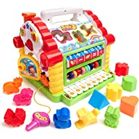 divine man Early Educational Baby Toys, Colorful Musical Baby House with Shape Sorters, Musical Piano Keys, Counting Math Beads, Blocks Activity Cube, Multi Game Play Cube for Boys and Girls