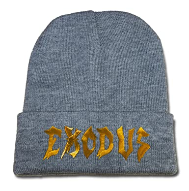 ea59b336f64 BOBPELL Exodus Band Logo Beanie Fashion Unisex Embroidery Beanies Skullies  Knitted Hats Skull Caps - Grey