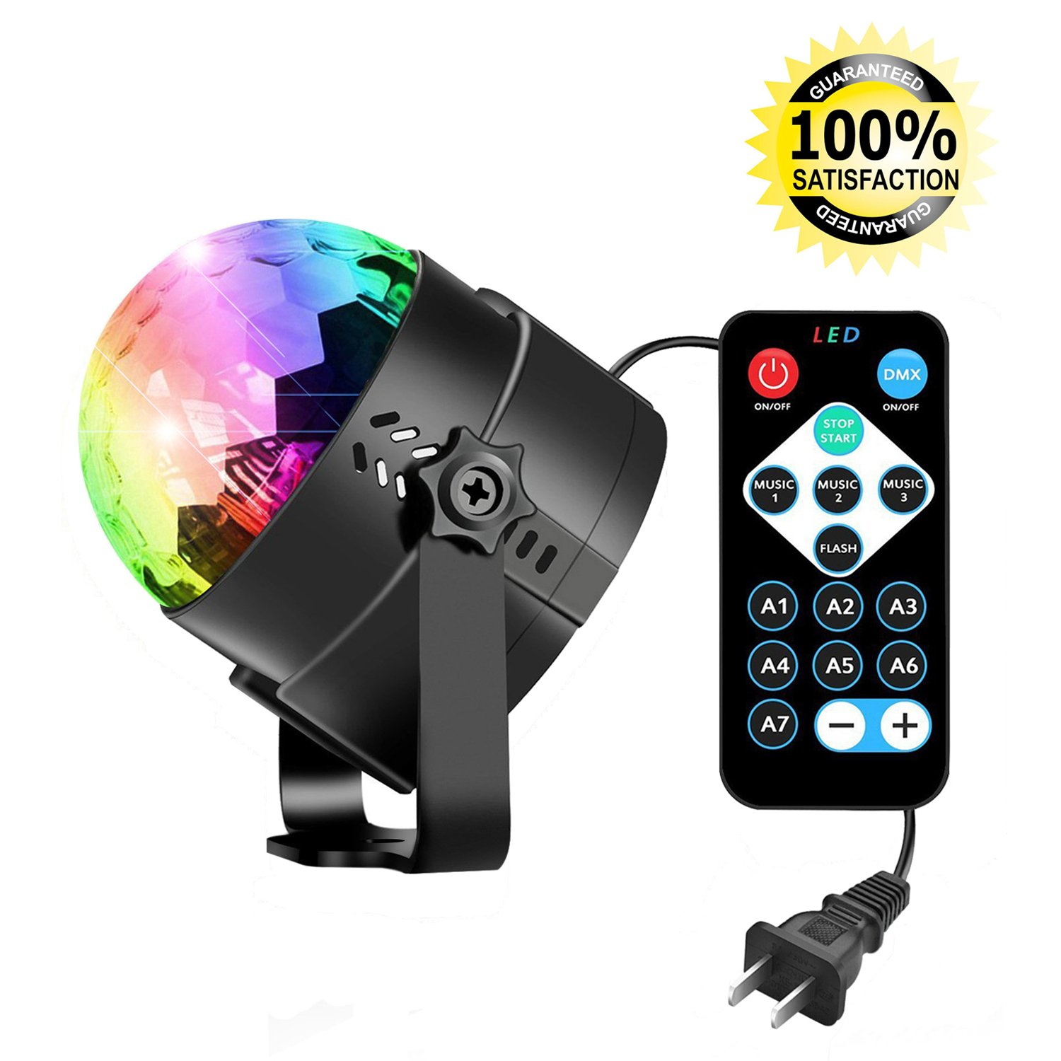 Party Strobe Light Sound Activated LED Disco Ball, Stage Light with 7 Color Modes, Fun for Dancing, Birthday, Party, Festival Holiday etc (With Remote)