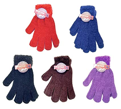 9ae34639e15 Amazon.com  DINY Home   Style (3 Pair) Ladies Warm Chenille Knit Magic  Gloves With Feathered Cuff One Size Fits All  Sports   Outdoors