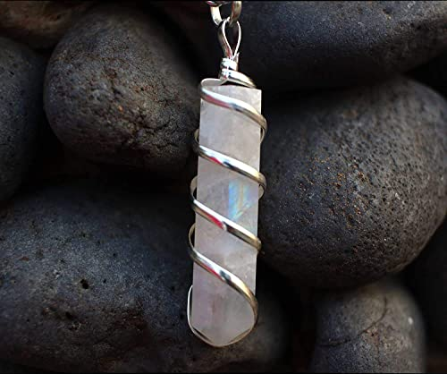 Moonstone Crystal Healing Necklace - for Crown Chakra. Brings Hope, Luck and Abundance. Relieves Emotional Stress. Enhances Intuition, Psychic Abilities and Stability By Orgonite Shop