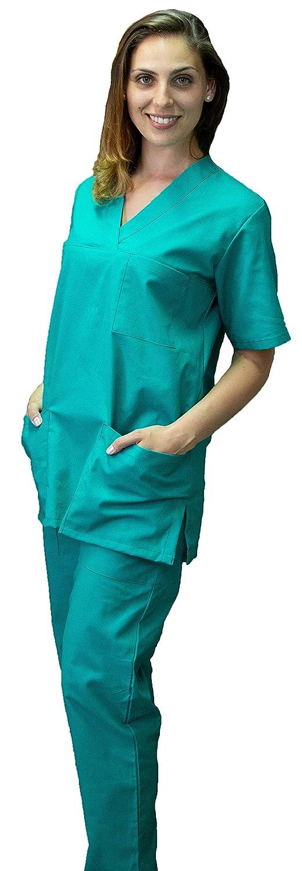 Completo Divisa Sanitaria, ospedaliera, Scollo a V, Unisex, per Infermiere, OSS, Ospedale, Case di Cura, Casacca e Pantalone, Made in Italy