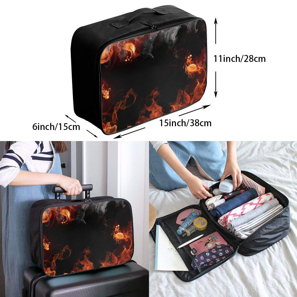 YueLJB Colorful Galaxy Fire Lightweight Large Capacity Portable Luggage Bag Travel Duffel Bag Storage Carry Luggage Duffle Tote Bag
