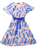 Allegra K Women's Boho Flowy Dress Summer Leaf Prints Flutter Sleeve Chiffon Dresses