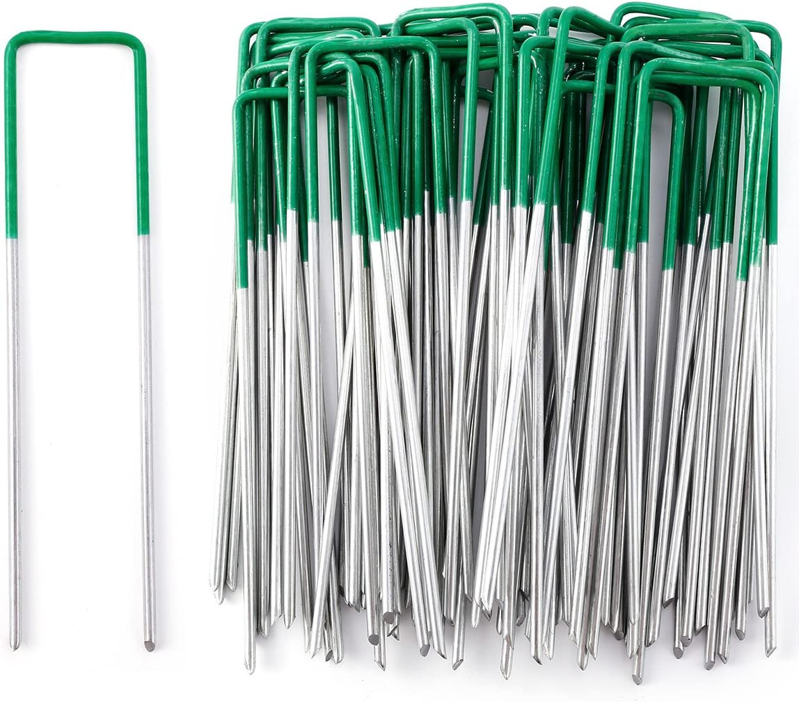 Hamimelon 50 Pack 6'' Galvanized Landscape Staples Heavy Duty U-Shaped Garden Securing Stakes Pins Spikes Pegs - Anti-Rust Sod Fence Staples for Anchoring Weed Barrier and Landscape Fabric