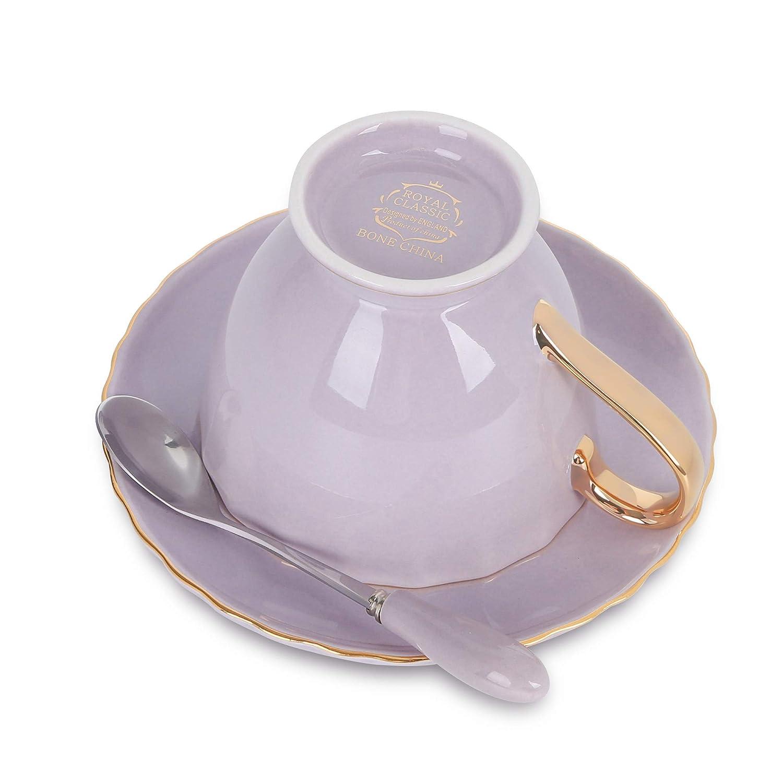 tazza e piattino da caff/è in porcellana viola Artvigor 4/set New Bone China Coffee /& Tea set