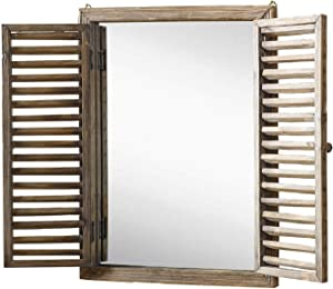 Farmhouse Decor Mirror with Frame - Rustic Mirror with Wooden Frame and Shutter Design Product SKU: SZ-7888