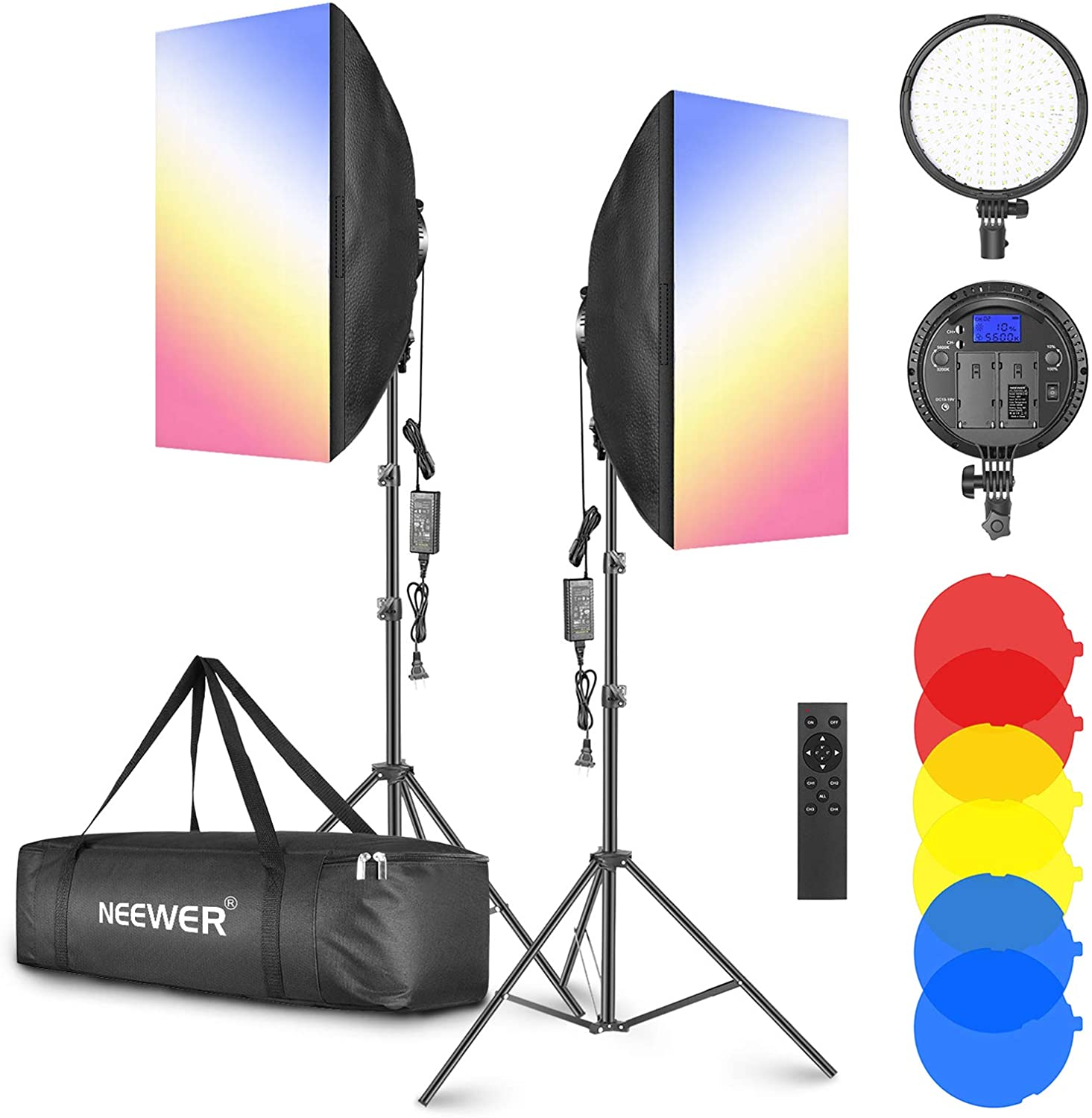 """Neewer 2-Pack 2.4GHz LED Softbox Lighting Kit with Color Filter — 20"""" × 28"""" Softbox, 3200–5600K 48W Dimmable LED Light Head, 2.4GHz Remote, Light Stand & Red/Yellow/Blue Filter for Photo Studio Video"""