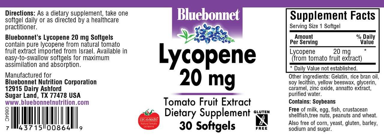 BLUEBONNET NUTRITION LYCOPENE 20 mg by Bluebonnet