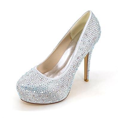Femmes Chaussures 2018 Nouveau Printemps Été Club Chaussures Light Up Chaussures Talons Talon À Talons Plate-Forme Cristal Talon pour Mariage Partie (Couleur : B, Taille : 36)
