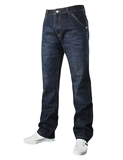 DEMON&HUNTER Loose Fit Hombre Pantalones Vaqueros Relaxed Jeans Azul Oscuro S8L09-1