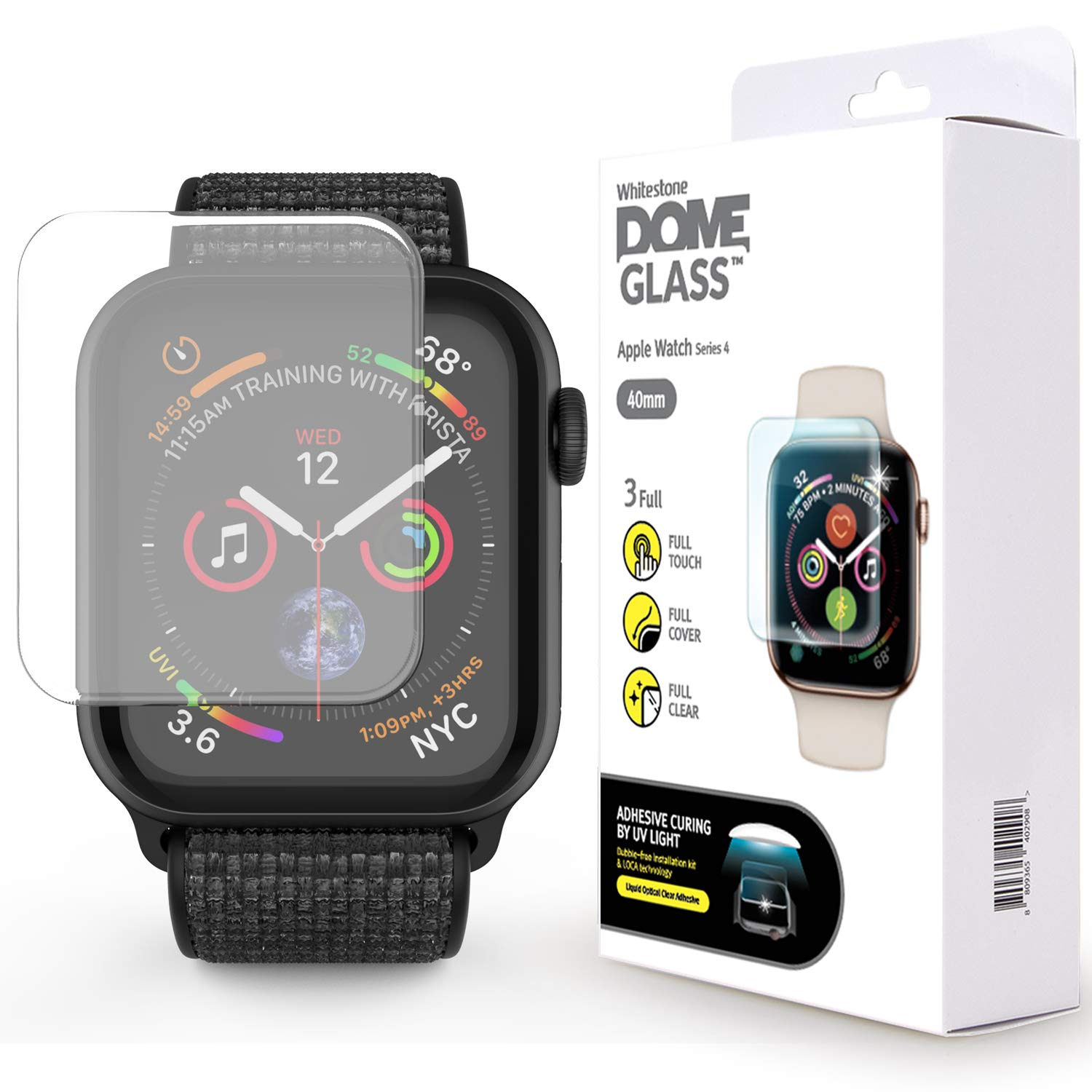 Apple Watch 40mm Screen Protector, [DOME GLASS] Liquid Adhesive for Full Coverage Tempered Glass [NO UV Light Included] and Protection by Whitestone for The Apple Watch 4 - Replacement Kit ONLY