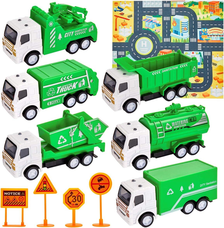 HERSITY Camión de Basura Coches y Camiones de Juguetes 6 Piezas Tapete de Juego Regalos para Niños